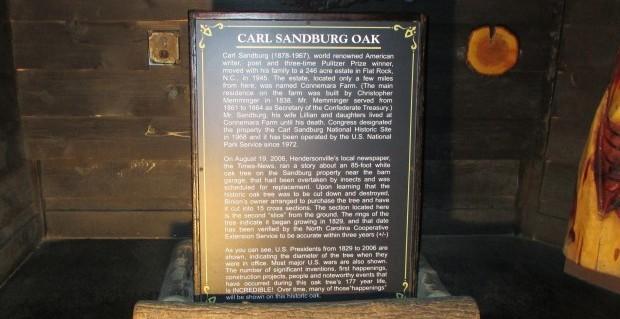 CarlSandburgOakPlaque2